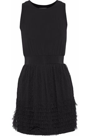 REDValentino Tiered point d'esprit and stretch-jersey mini dress
