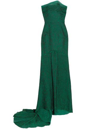 ROLAND MOURET Turret strapless cloqué gown