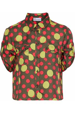 REDValentino Cropped polka-dot silk-twill shirt