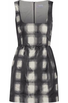 Checked Satin Mini Dress by Red Valentino