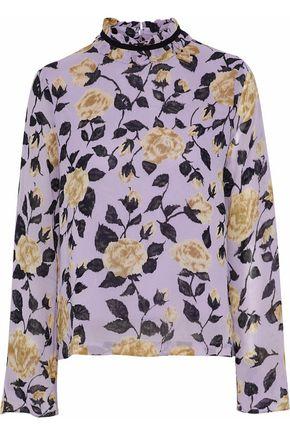 GANNI Ruffle-trimmed polka-dot georgette blouse