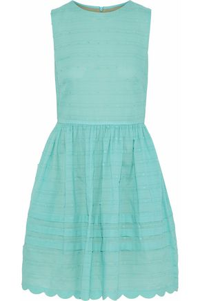 REDValentino Gathered cotton-poplin mini dress