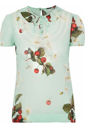 REDValentino Ruffled point d'esprit-trimmed floral-print silk-blend georgette blouse