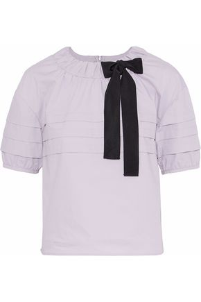 REDValentino Bow-embellished pleated cotton-blend poplin top