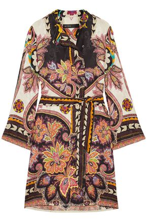 ETRO Belted printed satin-jacquard dress