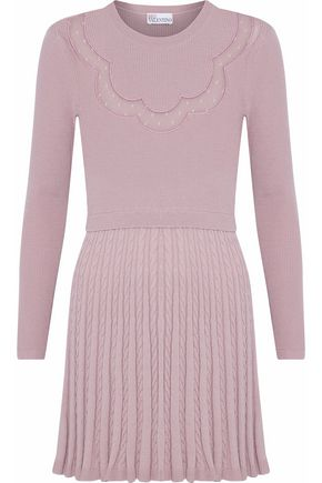REDValentino Point d'esprit-paneled ribbed and cable-knit wool mini dress