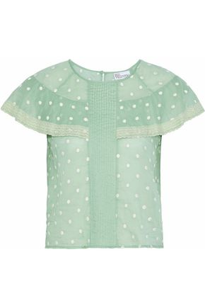 REDValentino Lace-trimmed embroidered polka-dot cotton-gauze top