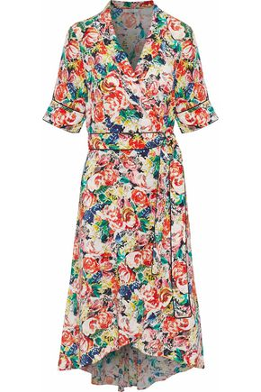 GANNI Floral-print silk-crepe wrap dress