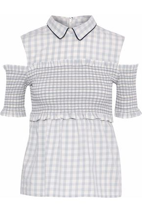 GANNI Maryville cold-shoulder gingham cotton-poplin top