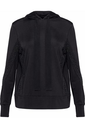 GANNI Newkirk crochet-trimmed stretch-knit hooded top