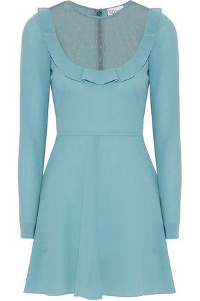 REDValentino Point d'esprit-paneled wool-crepe mini dress