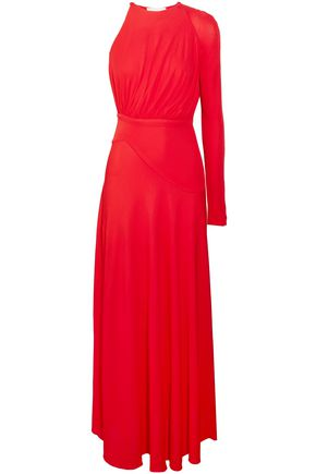 ANTONIO BERARDI One-shoulder gathered crepe gown