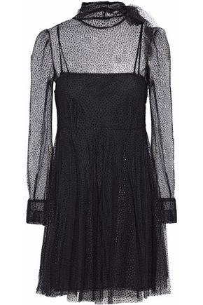 REDValentino Flared flocked tulle mini dress