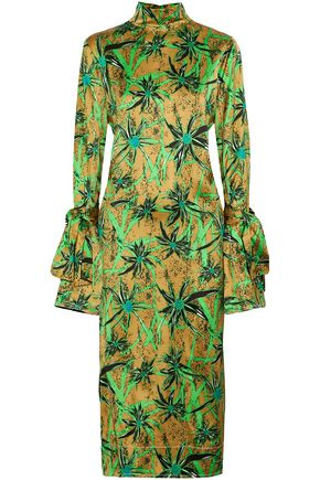 MARNI Tie-back printed satin midi dress