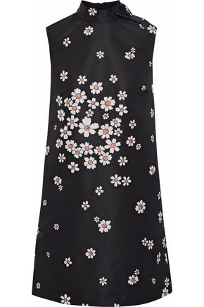 REDValentino Bow-embellished floral-print satin-faille mini dress