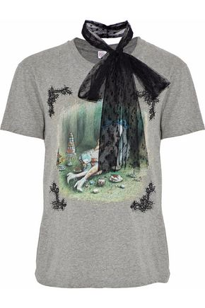 REDValentino Lace-appliquéd point d'esprit-trimmed printed cotton-jersey T-shirt