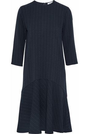 GANNI Clark fluted pinstriped crepe dress