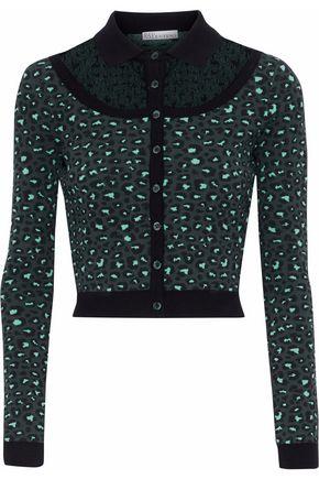 REDValentino Point d'esprit-paneled leopard-print jacquard-knit cardigan