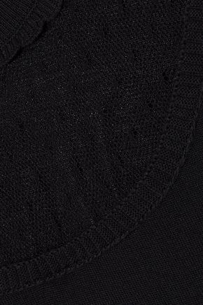 REDValentino Point d'esprit-paneled knitted sweater
