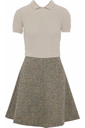 REDValentino Paneled open-knit and wool-tweed mini dress