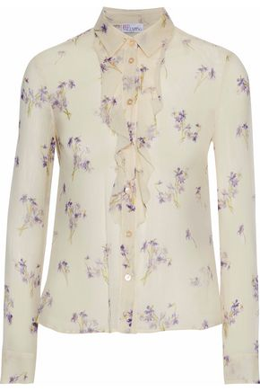 REDValentino Ruffle-trimmed floral-print silk-georgette shirt
