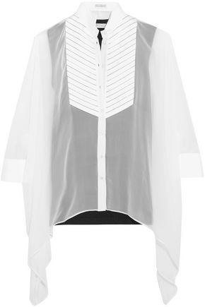 BRUNELLO CUCINELLI Beaded pleated canvas-paneled silk-chiffon blouse