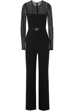 MICHAEL KORS COLLECTION Lace-paneled belted wool-blend jumpsuit