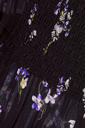 REDValentino Shirred floral-print silk-georgette mini dress