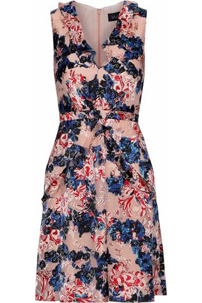 SALONI Lara ruffled floral-print fil coupé mini dress