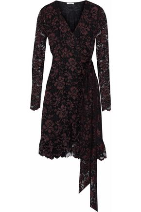 GANNI Flynn lace mini wrap dress