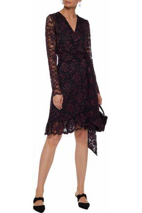 GANNI Flynn ruffled lace wrap dress