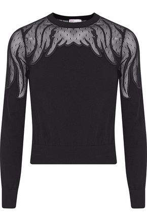 REDValentino Point d'esprit-paneled embroidered knitted sweater