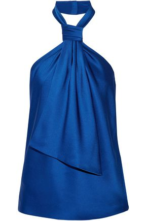 JASON WU Knotted satin-crepe halterneck top