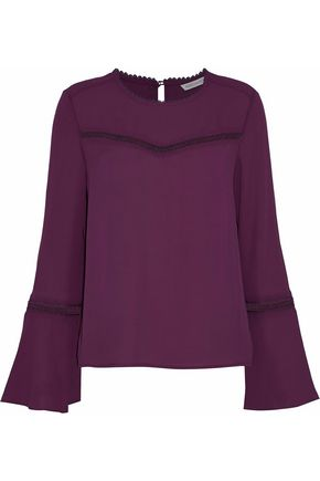 REBECCA MINKOFF Chava crochet-trimmed crepe blouse
