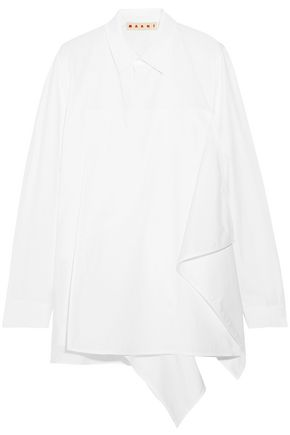 MARNI Asymmetric layered cotton-poplin shirt