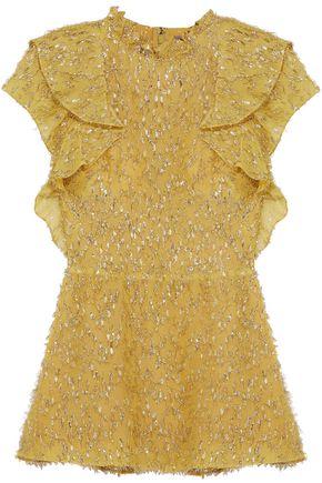 LELA ROSE Ruffle-trimmed fil coupé crepe de chine peplum blouse