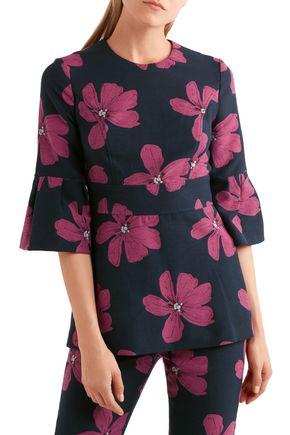 LELA ROSE Cotton-blend floral-jacquard peplum top