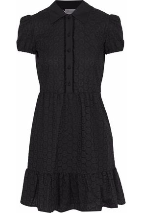 REDValentino Gathered broderie anglaise cotton mini dress