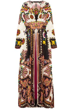 ETRO Lace-trimmed printed jacquard wrap dress