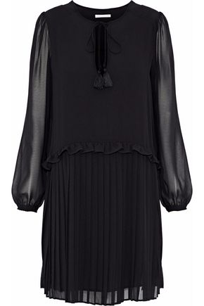 REBECCA MINKOFF Morrison pleated chiffon mini dress
