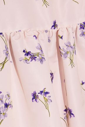 REDValentino Flared floral-print faille mini dress