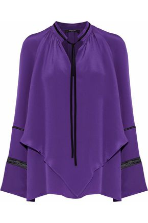DEREK LAM Layered open knit-trimmed silk crepe de chine blouse