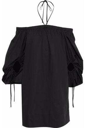 REBECCA MINKOFF Reese off-the-shoulder cotton-poplin mini dress