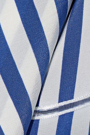 DEREK LAM Layered open knit-trimmed striped silk crepe de chine blouse