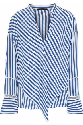 DEREK LAM Layered open knit-trimmed striped silk crepe de chine blouse