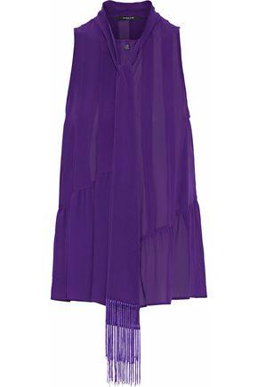 DEREK LAM Fringe-trimmed pleated silk-chiffon blouse