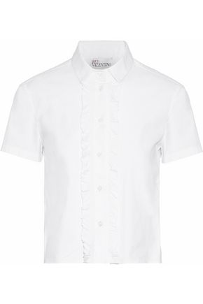 REDValentino Ruffle-trimmed stretch-cotton poplin shirt