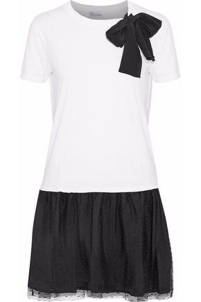 REDValentino Bow-detailed point d'esprit-paneled cotton-blend jersey mini dress