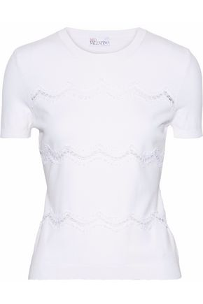 REDValentino Lace-paneled cotton-blend knit top