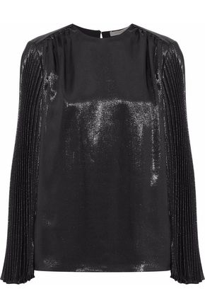 CHRISTOPHER KANE Pleated silk-blend lamé top